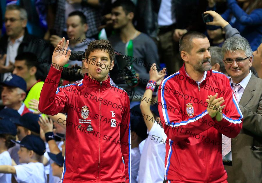 Davis Cup 2014 first round<br /> Srbija v Hrvatska<br /> Novak Djokovic and Nenad Zimonjic-Serbia v Franko Skugor and Marin Draganja doubles dublovi<br /> Team captain Bogdan Obradovic (R) and Filip Krajinovic<br /> Kraljevo, 07.03.2015.<br /> Foto: Srdjan Stevanovic/Starsportphoto.com&copy;