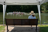 "Henley on Thames, United Kingdom, 22nd June 2018, Friday,   ""Henley Women's Regatta"",  view, Lone Supporter, watches, a heat of the , ""women's Fours"", W4-, Henley Reach, River Thames, England, © Peter SPURRIER"
