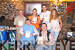 HEAD SHAVE: Fundraisers at The.Rock Inn, Rock St, Tralee, on Friday.night last, in aid of the Irish Sudden.Infant Death Association. Front l-r:.Dominic OBrien, St Johns Park, and.Ger Clapham. Back l-r: Joe Corrigan,.Strand Road, Sarah OLeary, Connolly.Park, Tommy OBrien, Killeen Heights,.and Michelle Jones, Muing.