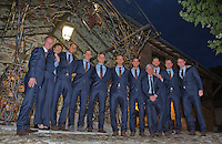 Switserland, Gen&egrave;ve, September 16, 2015, Tennis,   Davis Cup, Switserland-Netherlands, location of the official diner Clos Du Chateau, Dutch team Ltr: Captain Jan Siemerink, Thiemo de Bakker, Tallon Griekspoor, Tim van Rijthoven, Matwe Middelkoop and Jesse Huta Galung and staf<br /> Photo: Tennisimages/Henk Koster
