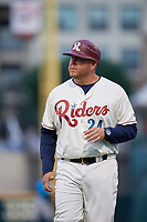 Frisco RoughRiders Brad Flanders (24) during a Texas League game against the Amarillo Sod Poodles on May 17, 2019 at Dr Pepper Ballpark in Frisco, Texas.  (Mike Augustin/Four Seam Images)