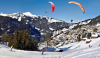 Paragliders above Wengen - Swiss Alps - Switzerland