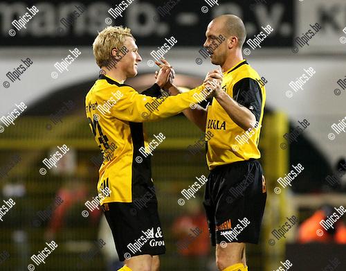 2010-03-17 / Voetbal / seizoen 2009-2010 / R. Antwerp FC - SK Lierse / Roel Van Hemert en Jurgen Cavens vieren..Foto: Mpics