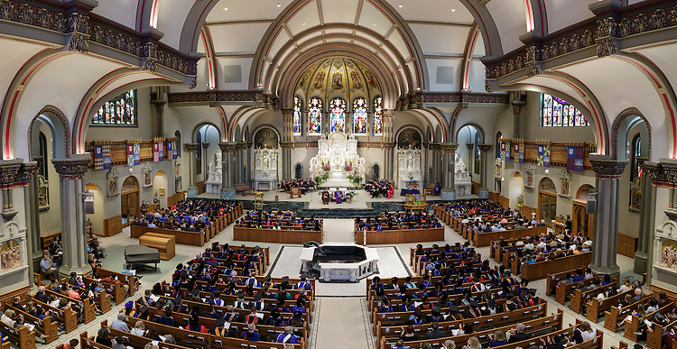 Marten denBoer, provost, makes remarks to the faculty and staff gathered in the St. Vincent de Paul Parish Church for the annual Academic Convocation Thursday, Sept. 1, 2016. The university is celebrating its 119th school year. (DePaul University/Jeff Carrion)
