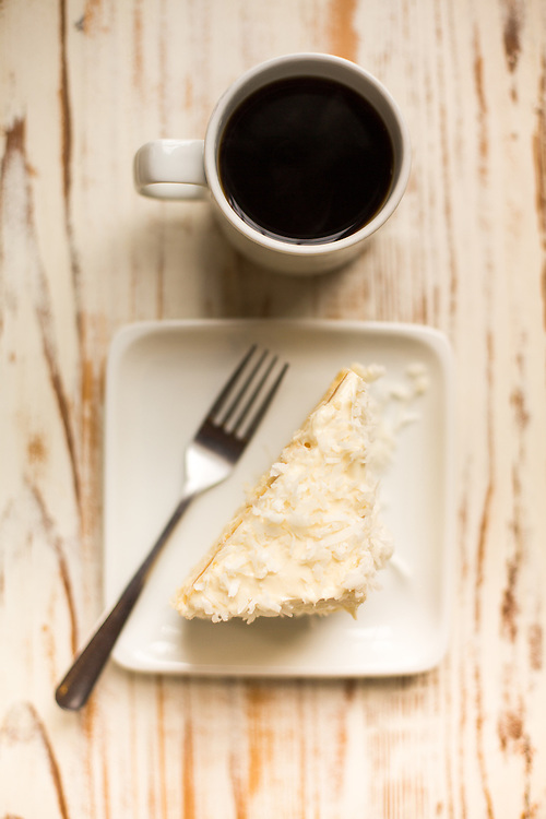 Gluten-sensetive Tres Leches cake with coffee at Cafe Symmetry in Carrboro, North Carolina.