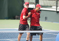 STANFORD-March 30, 2013: John Morrissey and Denis Lin during the Stanford vs UCLA tennis match Saturday afternoon at the Taube Family Tennis Stadium before the match was halted because of rain.<br /> <br /> When the match resumed on Sunday UCLA won 5-2.