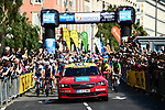 The start of Stage 8 of the 77th edition of Paris-Nice 2019 running 110km from Nice to Nice, France. 16th March 2019<br /> Picture: ASO/Alex Broadway | Cyclefile<br /> All photos usage must carry mandatory copyright credit (&copy; Cyclefile | ASO/Alex Broadway)