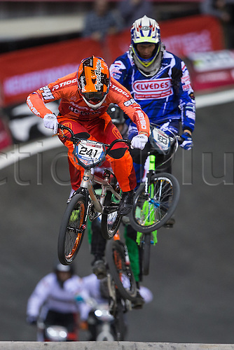09.04.2016. National Cycling Centre, Manchester, England. UCI BMX Supercross World Cup day 1. Niels Bensink and Kevin Elbers.