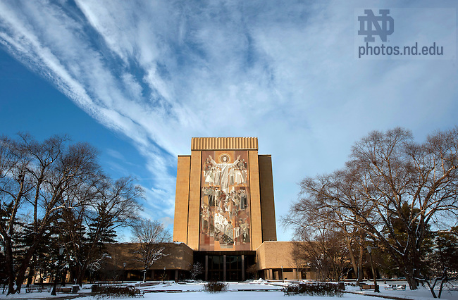 """January 3, 2012; The Word of Life Mural, """"Touchdown Jesus"""" on the south side of the Hesburgh Library. Photo by Barbara Johnston/University of Notre Dame."""