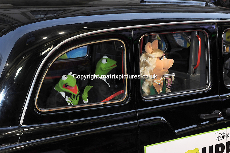 NON EXCLUSIVE PICTURE: PAUL TREADWAY / MATRIXPICTURES.CO.UK<br /> PLEASE CREDIT ALL USES<br /> <br /> WORLD RIGHTS<br /> <br /> Constantine, Kermit The Frog and Miss Piggy attending The Muppets Most Wanted VIP film screening, at The Curzon Mayfair in London.<br /> <br /> MARCH 24th 2014<br /> <br /> REF: PTY 141470