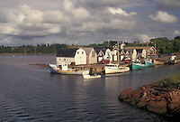 lobster fishing boats, Prince Edward Island, Canada, P.E.I., Gulf of St. Lawrence, Fishing boats docked in the harbor of the fishing village of New London on Prince Edward Island.