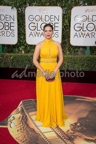 America Ferrera arrives at the 73rd Annual Golden Globe Awards at the Beverly Hilton in Beverly Hills, CA on Sunday, January 10, 2016. Photo Credit: HFPA/AdMedia