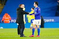 4th March 2020; King Power Stadium, Leicester, Midlands, England; English FA Cup Football, Leicester City versus Birmingham City; Leicester City Manager Brendan Rodgers congratulates Ben Chilwell after the final whistle