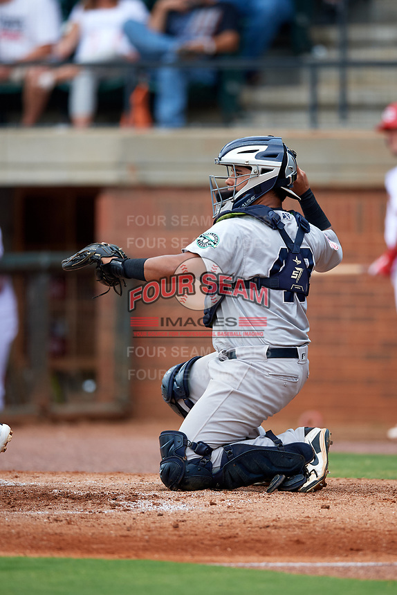 Pulaski Yankees catcher Carlos Narvaez (48) throws back to the pitcher during a game against the Greeneville Reds on July 27, 2018 at Pioneer Park in Tusculum, Tennessee.  Greeneville defeated Pulaski 3-2.  (Mike Janes/Four Seam Images)