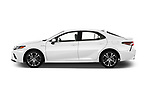 Car driver side profile view of a 2019 Toyota Camry Hybrid SE 4 Door Sedan