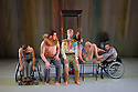 London, UK. 13.05.2014. StopGap Dance Company present ARTIFICIAL THINGS as part of the =dance strand in the Lilian Baylis Studio, at Sadler's Wells. Picture shows: Laura Jones, David Willdridge, Chris Pavia, Amy Butler and David Toole. Photograph © Jane Hobson.