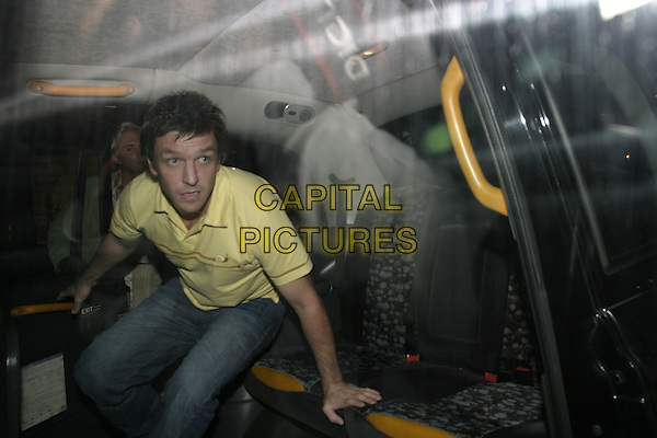 LEE SHARP.Leaving Cipriani Restaurant,.London, 14th September 2005.half length taxi yellow shirt.Ref: AH.www.capitalpictures.com.sales@capitalpictures.com.© Capital Pictures.