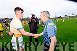 Kerry Manager Peter Keane with Sean O'Shea, Kerry after the Football All-Ireland Senior Championship Quarter-Final Group 2 Phase 3 match between Kerry and Meath at Páirc Tailteann, Navan on Saturday.