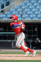Gian Martellini (47) of Bishop Hendricksen High School in Johnston, Rhode Island playing for the Philadelphia Phillies scout team during the East Coast Pro Showcase on July 30, 2014 at NBT Bank Stadium in Syracuse, New York.  (Mike Janes/Four Seam Images)