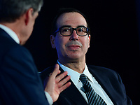 Washington, DC - May 23, 2017: U.S. Treasury Secretary Steven Mnuchin listens to a question from CNBC's John Harwood during the 2017 Fiscal Summit, hosted by the Peter G. Peterson Foundation, at the Andrew Mellon W. Mellon Auditorium in the District of Columbia May 23, 2017.  (Photo by Don Baxter/Media Images International)