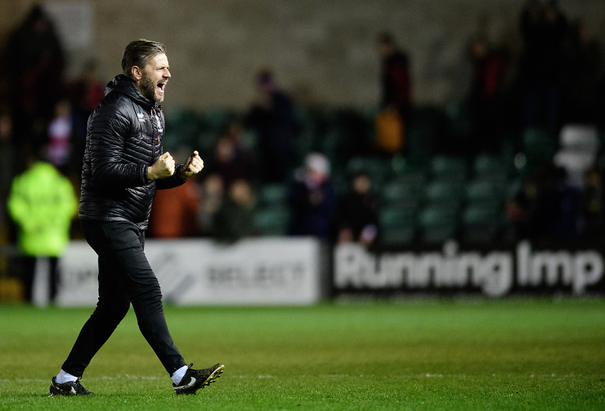 Lincoln City's assistant manager Nicky Cowley celebrates the win at the end of the game<br /> <br /> Photographer Chris Vaughan/CameraSport<br /> <br /> The EFL Sky Bet League Two - Lincoln City v Newport County - Saturday 22nd December 201 - Sincil Bank - Lincoln<br /> <br /> World Copyright © 2018 CameraSport. All rights reserved. 43 Linden Ave. Countesthorpe. Leicester. England. LE8 5PG - Tel: +44 (0) 116 277 4147 - admin@camerasport.com - www.camerasport.com