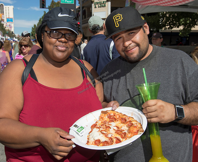 Gayla and Cesar from Sacramento, CA during the Italian Festival in downtown Reno on Saturday, Oct. 7, 2017.