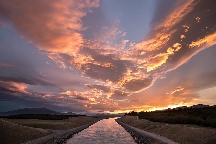 Pukaki-Ohau Canal at sunset, Mackenzie Country, South Canterbury, New Zealand