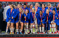 CARSON, CA - FEBRUARY 9: Lindsey Horan #9, Rose Lavelle #16 and Julie Ertz #8 of the United States laugh on stage during a game between Canada and USWNT at Dignity Health Sports Park on February 9, 2020 in Carson, California.