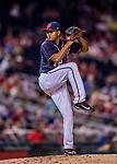 28 April 2017: Washington Nationals pitcher Enny Romero on the mound in the 9th inning against the New York Mets at Nationals Park in Washington, DC. The Mets defeated the Nationals 7-5 to take the first game of their 3-game weekend series. Mandatory Credit: Ed Wolfstein Photo *** RAW (NEF) Image File Available ***