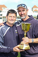 Picture by Alex Whitehead/SWpix.com - 12/09/2014 - Cricket - LV County Championship Div One - Nottinghamshire CCC v Yorkshire CCC, Day 4 - Trent Bridge, Nottingham, England - Yorkshire Director of Cricket Martyn Moxon and First Team Coach Jason Gillespie celebrate with the trophy.