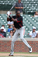 Outfielder Lewis Brinson #18 during practice before the Under Armour All-American Game at Wrigley Field on August 13, 2011 in Chicago, Illinois.  (Mike Janes/Four Seam Images)