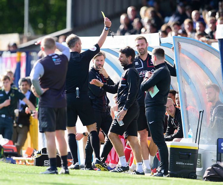 Lincoln City manager Danny Cowley is shown a yellow card by referee Christopher Sarginson<br /> <br /> Photographer Andrew Vaughan/CameraSport<br /> <br /> The EFL Sky Bet League One - Wycombe Wanderers v Lincoln City - Saturday 7th September 2019 - Adams Park - Wycombe<br /> <br /> World Copyright © 2019 CameraSport. All rights reserved. 43 Linden Ave. Countesthorpe. Leicester. England. LE8 5PG - Tel: +44 (0) 116 277 4147 - admin@camerasport.com - www.camerasport.com