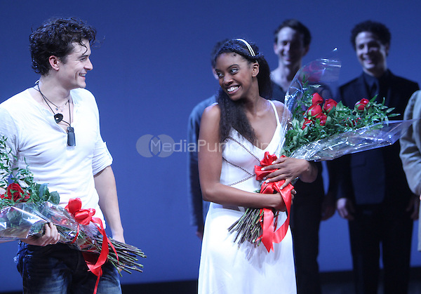 NEW YORK, NY - SEPTEMBER 19: Orlando Bloom and Condola Rashad during the curtain call for the Opening Night of Romeo &amp; Juliet at the Richard Rodgers Theatre in New York City.<br /> Credit: RW/MediaPunch Inc.