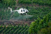 Mayschoss, Rheinland Pfalz, Germany, July 2010. A helicopter is cropdusting the grapes.  The wine cellars of the wineproducer cooperative Winzergenossenschaft Mayschoß-Altenahr. Mayschoß is a municipality in the district of Ahrweiler, in Rhineland-Palatinate. In the village 59 wineries operate, the area under vines is 101 hectares. About 74 percent of the cultivated wine is red wine grapes, especially Pinot.  The fertile river valleys and the rolling hills form the basis for some of Germany's best wines.  Photo by Frits Meyst / Adventure4ever.com