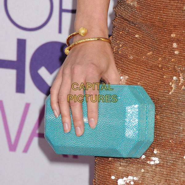 Kristin Kreuk's hand.People's Choice Awards 2013 - Arrivals held at Nokia Theatre L.A. Live, Los Angeles, California, USA..January 9th, 2013.detail blue turquoise clutch bag gold bracelet .CAP/ADM/BP.©Byron Purvis/AdMedia/Capital Pictures.