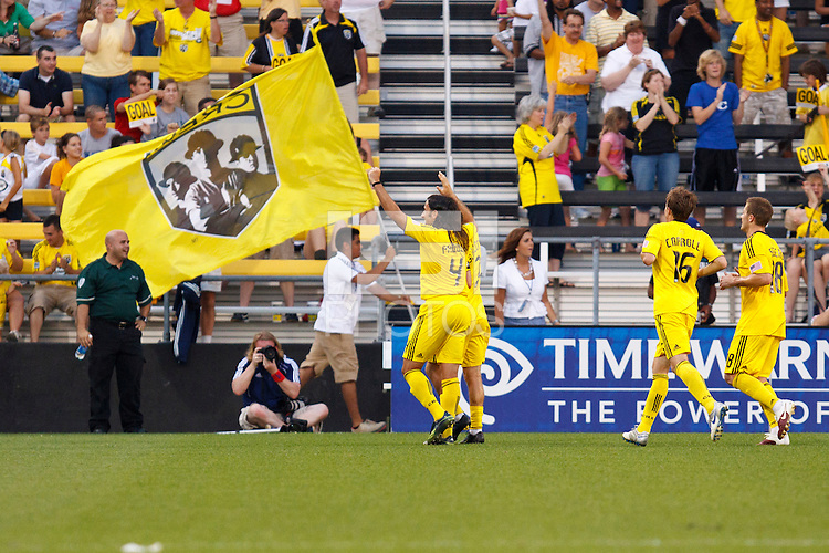 26 JUNE 2010:  Columbus celebrate Guillermo Barros Schelotto of the Columbus Crew (7) goal during MLS soccer game between DC United vs Columbus Crew at Crew Stadium in Columbus, Ohio on May 29, 2010. The Crew defeated DC United 2-0.