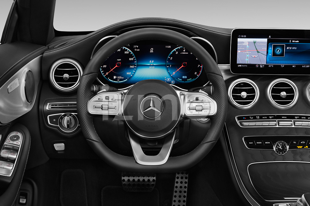 Car pictures of steering wheel view of a 2019 Mercedes Benz C-Class C300- 2 Door Convertible Steering Wheel