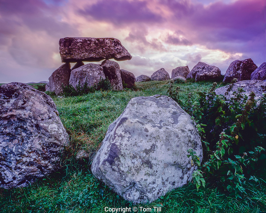 Dolmen and stone circle, Carrowmore Megalithis Cemetery, County Sligo, Republic of Ireland, Five thousand year old structures, Knocknarea Mountain, September