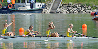 Ottensheim, AUSTRIA.  A  Final,  AUS. LW4X,   Bow, Ingrid FENGER, Bronwyn WATSON, Miranda BENNETT and Alice McNAMARA,  Gold Medallist, at the 2008 FISA Senior and Junior Rowing Championships,  Linz/Ottensheim. Sunday,  27/07/2008.  [Mandatory Credit: Peter SPURRIER, Intersport Images] Rowing Course: Linz/ Ottensheim, Austria