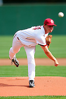 Boston College Eagles pitcher Mike King (34) delivers a pitch during a game versus the Hartford Hawks at Pellagrini Diamond at Shea Field on May 9, 2015 in Chestnut Hill, Massachusetts.  ( Ken Babbitt/Four Seam Images)