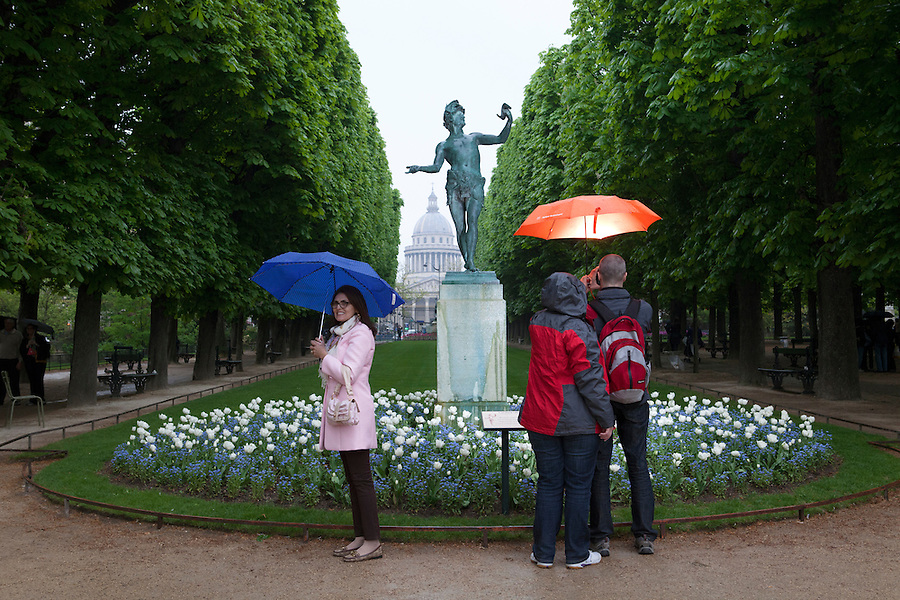 People take pictures in front of the statue, Luxembourg Gardens in Spring, Paris, France, Europe