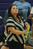 Cedar Ridge head coach Kim Fuller signals instruction to the server Tuesday against Round Rock.  (LOURDES M SHOAF for Round Rock Leader.)