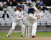 7th September 2017, Emirates Old Trafford, Manchester, England; Specsavers County Championship, Division One; Lancashire versus Essex; Tom Bailey of Lancashire sweeps to the leg side boundary for four runs as Essex keeper James Foster looks on