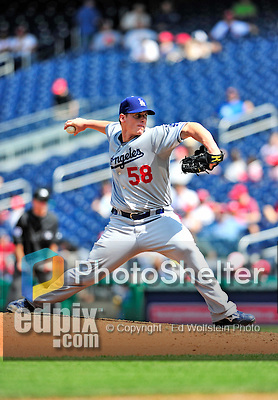 25 April 2010: Los Angeles Dodgers' starting pitcher Chad Billingsley on the mound against the Washington Nationals at Nationals Park in Washington, DC. The Nationals shut out the Dodgers 1-0 to take the rubber match of their 3-game series. Mandatory Credit: Ed Wolfstein Photo