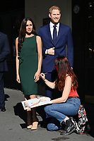 London, UK - 30 July 2020<br /> Madame Tussauds most popular figures 'queue' outside the attraction to celebrate the reopening to the public this Saturday 1st August of one of London's most notable tourist attractions. Meghan Duchess of Sussex and Prince Harry<br /> CAP/JOR<br /> ©JOR/Capital Pictures