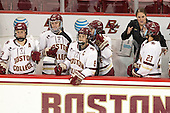 Haley Skarupa (BC - 22), Meghan Grieves (BC - 17), Dana Trivigno (BC - 8), Katie Crowley (BC - Head Coach), Andie Anastos (BC - 23) - The Boston College Eagles defeated the visiting UConn Huskies 4-0 on Friday, October 30, 2015, at Kelley Rink in Conte Forum in Chestnut Hill, Massachusetts.