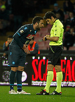 Gonzalo Higuain  protest to referee Calvanese during the Italian Serie A soccer match between   SSC Napoli and Atalanta  at San Paolo  Stadium in Naples ,March 22 , 2015<br /> <br /> <br /> incontro di calcio di Serie A   Napoli -Atalanta allo  Stadio San Paolo  di Napoli , 22  Marzo 2015