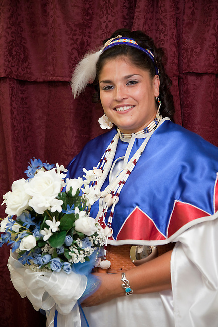 Traditional bride from the Klamath tribe on her wedding day at the Williamson Indian Mission Church in Chiloquin, Oregon