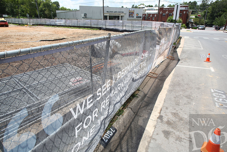 NWA Democrat-Gazette/DAVID GOTTSCHALK   The site of the under construction TheatreSquared and part of the entertainment district are visible on West Avenue Thursday, July 13, 2017, are visible in Fayetteville. Northwest Arkansas ' arts and cultural nonprofit organizations and events drew almost 2 million attendees who spent tens of millions of dollars in 2015, according to a new study from Americans for the Arts that measured the nonprofits'  spending and their attendees'  spending on ancillary expenses like parking and food.