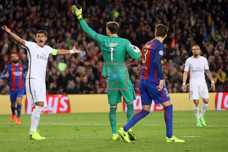 UEFA Champions League 2016/2017.<br /> Round of 16 2nd leg<br /> FC Barcelona vs Paris Saint-Germain: 6-1.<br /> Thiago Silva, Kevin Trapp &amp; Gerard Pique.